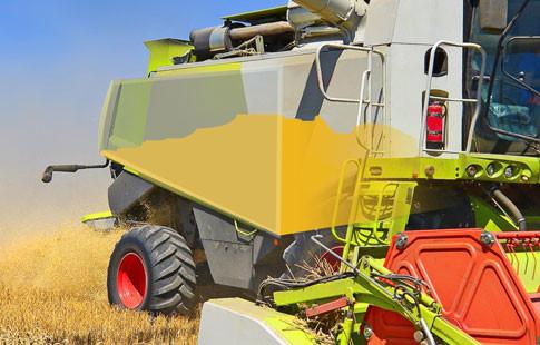 grain tank in harvester